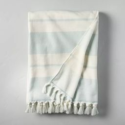 Double Stripes Cotton Beach Towel Light Blue/Sour Cream - Hearth & Hand™ with Magnolia | Target