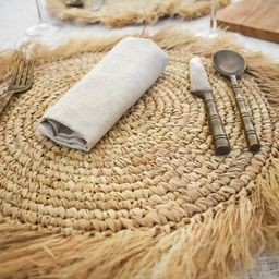 SET OF 2 boho fringe placemats,  dinnerware set, table decor pad, boho natural placemat, handwove... | Etsy (AU)