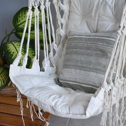 Hammock swing chair, off white macrame and cotton handmade hammock swing chair   Etsy (AU)