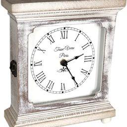 "Tasse Verre Rustic Shelf Clock (Quiet) For Bedroom Table Or Desk 9""x7"" Farmhouse Decor Distressed...   Amazon (US)"