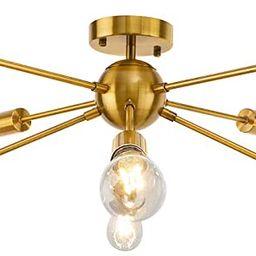 Gold Sputnik Chandelier, LynPon 8 Light Mid Century Light Fixture Bedroom Electroplated Brass Ind...   Amazon (US)