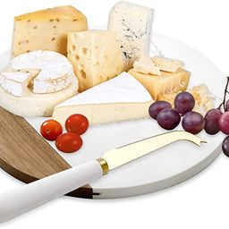 VUDECO White Marble and Acacia Wooden Cheese Board & Knife Set Marble Tray for Meats Breads Charc...   Amazon (US)