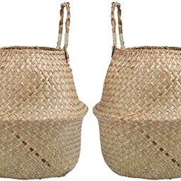 Yesland 2 Pack Woven Seagrass Plant Basket with Handles, Ideal for Storage Plant Pot Basket, Laun...   Amazon (US)