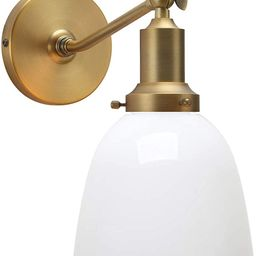 """Permo Industrial Vintage Slope Pole Wall Mount Single Sconce with 6.7"""" Oval Dome Milk White Glass...   Amazon (US)"""
