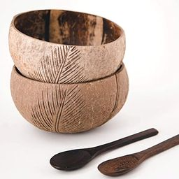 100% Natural Jumbo Coconut Bowl/Spoon Unique Gift Set. Eco-Friendly Vegan Organic Non-Toxic Reusa...   Amazon (US)