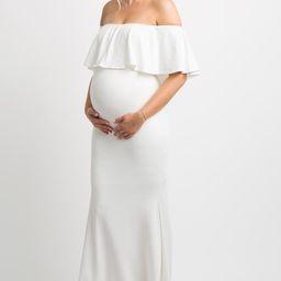 PinkBlush Ivory Ruffle Off Shoulder Mermaid Maternity Photoshoot Gown/Dress | PinkBlush Maternity