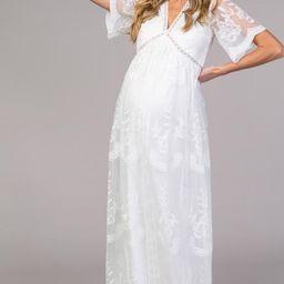 PinkBlush White Lace Mesh Overlay Maternity Maxi Dress | PinkBlush Maternity