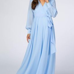 Light Blue Chiffon Long Sleeve Maternity Maxi Dress | PinkBlush Maternity