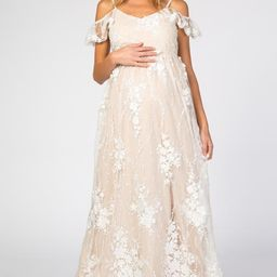 Ivory Floral Embroidered Mesh Maternity Evening Gown | PinkBlush Maternity