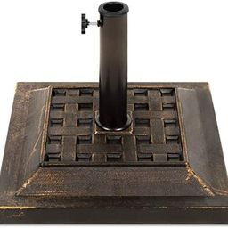 Best Choice Products Heavy Duty 26lb Outdoor Steel Square Patio Umbrella Base Stand w/Bronze Fini... | Amazon (US)