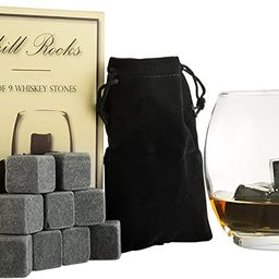 Set of 9 Grey Beverage Chilling Stones [Chill Rocks] Whiskey Stones for Whiskey and other Beverag... | Amazon (US)