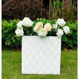 "12"""" Kante Lightweight Outdoor Retro Square Concrete Planter Pure White - Rosemead Home & Garden, In   Target"