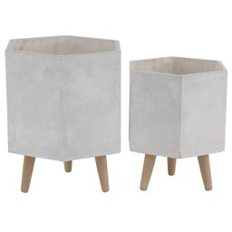 Set of 2 Farmhouse Hexagonal Wood, Ceramic and Fiber Clay Novelty Planters with Stands White - Olivi   Target