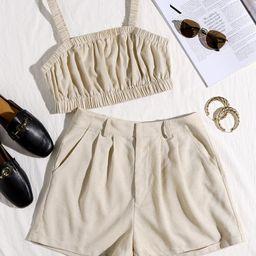 SHEIN Ruched Crop Cami Top & Shorts Set Without Belt | SHEIN