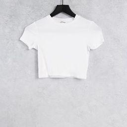 Monki Karo organic cotton cropped t-shirt in white | ASOS (Global)