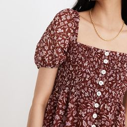 Lucie Smocked Button-Front Midi Dress in Batik Vine | Madewell
