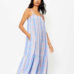 Plaid Smocked Pocket Midi Dress | LOFT