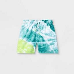 Toddler Boys' Tie-Dye Swim Trunks - Cat & Jack™ Lime Green/Blue   Target
