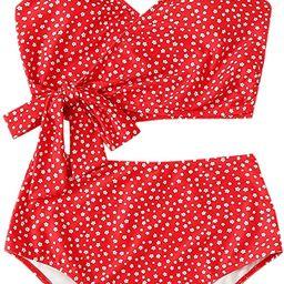 SweatyRocks Women's Two Pieces Swimsuit Solid Color Tie Side Top High Waisted Bikini Set   Amazon (US)