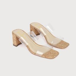 Jace Clear and Cork High Heel Sandals | Lulus (US)