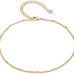 Women Dainty Anklet,14K Gold Plated Satellite Anklet Double Layered Cute Beads Chain Tassel Coin ... | Amazon (US)