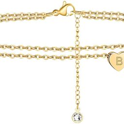 Turandoss Heart Initial Ankle Bracelets for Women, 14K Gold Filled Handmade Dainty Layered Anklet... | Amazon (US)