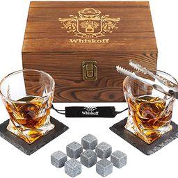 Whiskey Glass Set of 2 - Bourbon Whiskey Stones Gift Set - Rocks Whisky Chilling Stones - Scotch ... | Amazon (US)