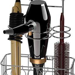 SimpleHouseware Cabinet Door / Wall Mount Hair Dryer & Styling Tools Organizer Storage, Chrome | Amazon (US)