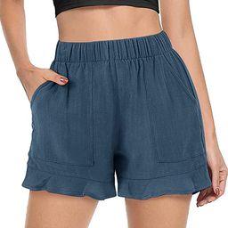 FASKUNOIE Women's Comfy Casual Drawstring Shorts Cotton Linen Elastic Ruflle Hem Summer Shorts wi...   Amazon (US)