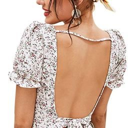 Floerns Women's Floral Print Square Neck Backless Tie Back Crop Top Blouse   Amazon (US)