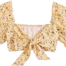 Milumia Women Sexy Floral Print Raglan Sleeve Frill Trim Tie Front Beach Crop Blouse Tops   Amazon (US)