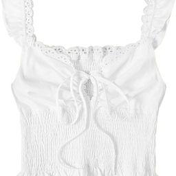 SheIn Women's Summer Sleeveless Ruffle Strap Tie Neck Cute Cami Tank Top Blouse   Amazon (US)