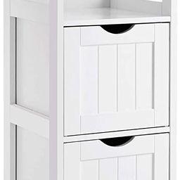 VASAGLE Floor Cabinet Multifunctional Bathroom Storage Organizer Rack Stand, 2 Drawers, White | Amazon (US)