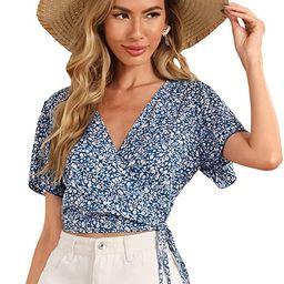 SheIn Women's V Neck Short Sleeve Self Tie Wrap Floral Crop Tops Blouse   Amazon (US)