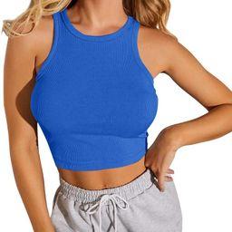 CLOZOZ Women Round Neck Sleeveless Ribbed Basic Crop Tank Top Shirts   Amazon (US)