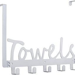 Towel Holder Bath Over The Door 5 Hooks Organizer Rack Heavy-Duty Organizer for Towel, Robe, Coat... | Amazon (US)