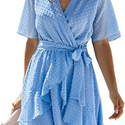 BTFBM Women Fashion Faux Wrap Swiss Dot V-Neck Short Sleeve High Waist A-Line Ruffle Hem Plain Be... | Amazon (US)