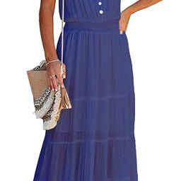 PRETTYGARDEN Women's Causal Summer Dress Spaghetti Strap Sleeveless High Waist Beach Long Maxi Dr... | Amazon (US)