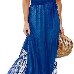 PRETTYGARDEN Women's Casual Halter Neck Sleeveless Floral Long Maxi Dress Backless Loose Ruffle... | Amazon (US)