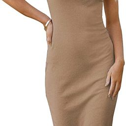 PRETTYGARDEN Women Basic Bodycon Midi Dress Crewneck Sleeveless Casual Summer Tank Top Dresses | Amazon (US)
