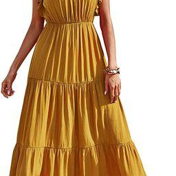 PRETTYGARDEN Women's Bohemian Sleeveless Maxi Dress Square Neck Backless Boho Ruffle Hem Long D... | Amazon (US)