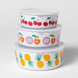 3pc Plastic Printed Food Storage Bowls - Sun Squad™   Target