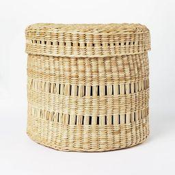 "11"" x 9"" Oval Decorative Lidded Open Weave Basket Natural - Threshold™ designed with Studio McG... | Target"