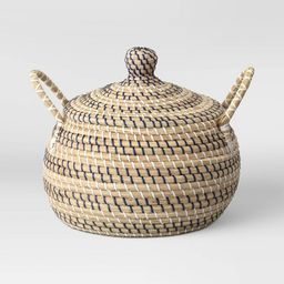 """14"""" x 14"""" Round Lidded Basket with Handles Striped - Opalhouse™ 