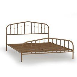 Costway Queen size Metal Bed Frame Steel Slat Platform Headboard Bedroom Antique Brown | Target