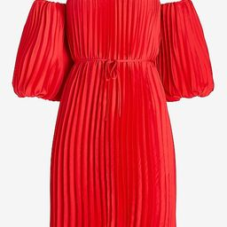 Pleated Belted Off The Shoulder Trapeze Dress   Express
