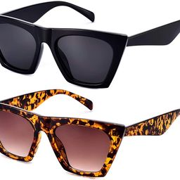 Mosanana 2 Pair Trendy Sunglasses for Women Square Cat Eye Style MS51801 | Amazon (US)
