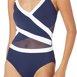 Anne Cole Women's Mesh Spliced Over The Shoulder Sexy One Piece Swimsuit | Amazon (US)