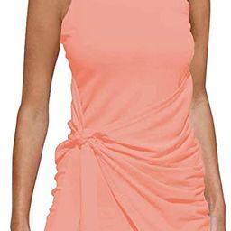 OWIN Women's Summer Casual Sleeveless Tank Dress Crewneck Bodycon Ruched Tie Waist Mini Dresses   Amazon (US)