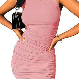 Inorin Womens Scoop Neck Sleeveless Tank Dress Summer Ruched Ribbed Sexy Club Mini Bodycon Dresse...   Amazon (US)